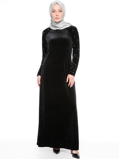 4c59d833c3d Muslim women long sleeves velvet Beads embroidery Dubai Dress maxi ...
