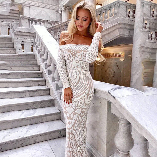 ac5ea313db864 NATTEMAID Off Shoulder Black Maxi White Dress 2019 Mesh Bodycon Sequin  Dress Women Strapless Party Sexy Winter Dresses Vestido