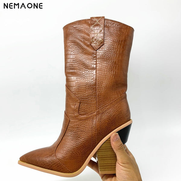 NEMAONE Drop ship Brand women boots pointed toe wedges shoes autumn winter boots short ladies Western mid-calf boots for women