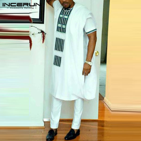 NEW African Pullovers Men Dress Shirts Sleeveless Dashiki Kaftan Suit Tops White Dress Robe African Men Clothing Big 5XL Tee