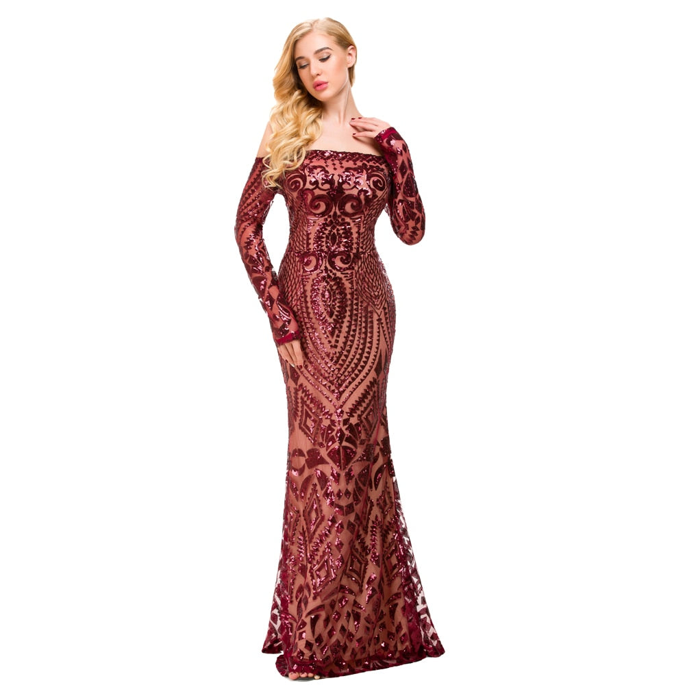 56f3cc6865 Hover to zoom · NEW Burgundy Sexy Off Shoulder Sequin Dress Bodycon Floor  ...