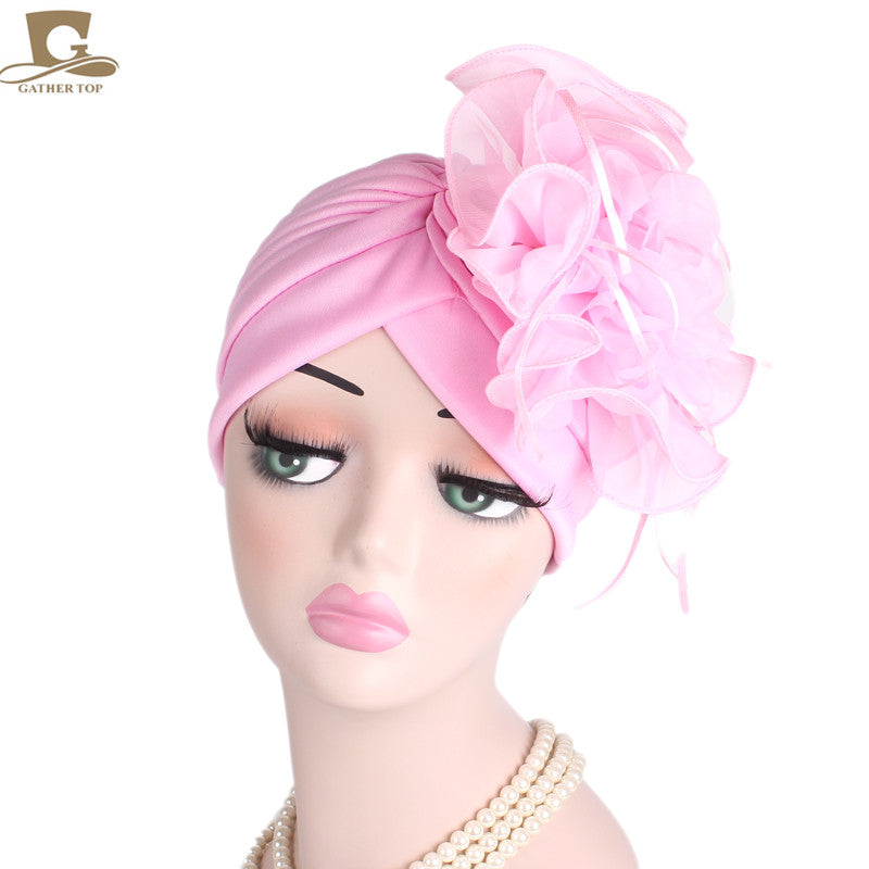 f9ab2243d NEW Fascinators Hats Women Ruffle Turban Headwear With Big flower Cocktail  Wedding Tea Party Hat Muslim Style Beanie