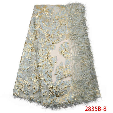 NIAI African Lace Fabric For Wedding Dress 2019 High Quality French Sequins Lace Fabric Fashion Nigerian Lace Fabrics XY2835B-1