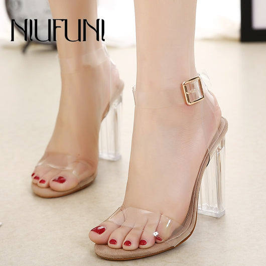 NIUFUNI 2018 PVC Women Pumps Sexy Clear Transparent Ankle Strap High Heels Party Sandalias Women Shoes Sapatos zapatos mujer
