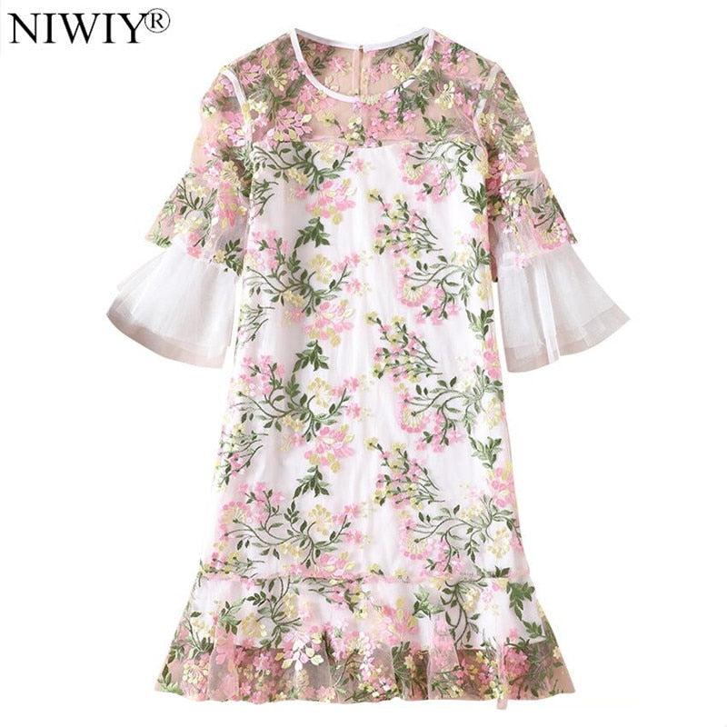 0fded8ae142 NIWIY Brand Summer Designer Dresses Runway 2019 High Quality Gauze Embroidered  Women Dress Ropa Mujer Talla. Hover to zoom