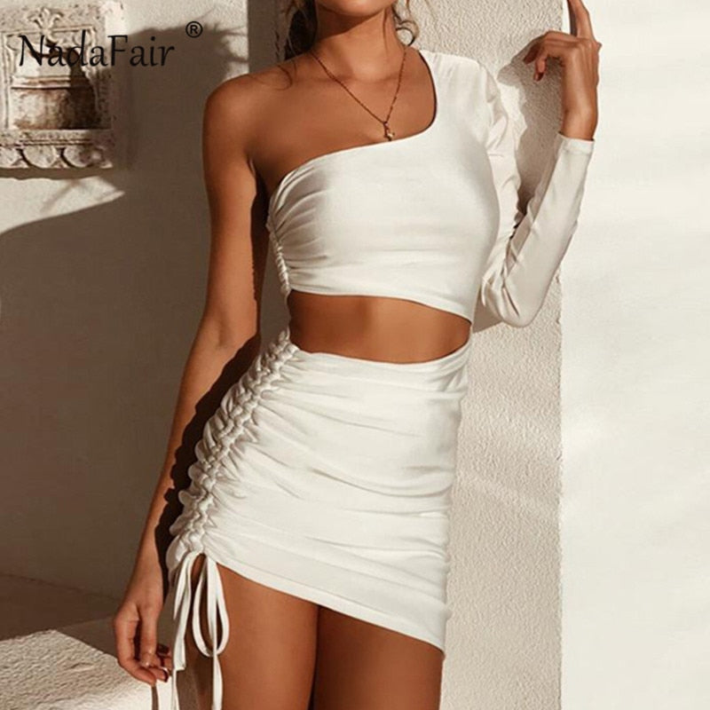 Nadafair Sexy Party Club Backless Bodycon Dress Women Autumn Hollow Out One  Shoulder Long Sleeve Mini ... d48208246