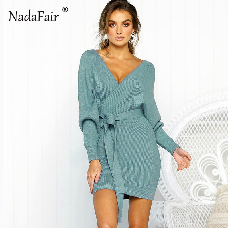 b2c22effcbc ... neck knitted dress women casual sash autumn winter sweater dress ladies  sexy. Hover to zoom