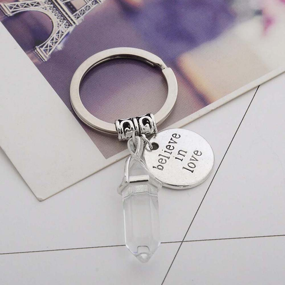 ... Natural stone Keychain Believe In Love Round Pendant Keyring car  key-chains Jewelry Men Women s ... 638a064ad