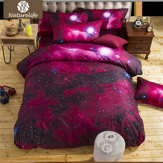 Naturelife 3D Printed Plaid Bedding Set Nebula Sanding Duvet Cover Set Bedsheet Pillowcase Duvet Cover Soft bed linen de couette