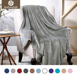 Naturelife Warm Blanket soft Grey Plaid Travel Flannel Blanket For Beds Cobertor Throws Fleece Blankets high quality manta