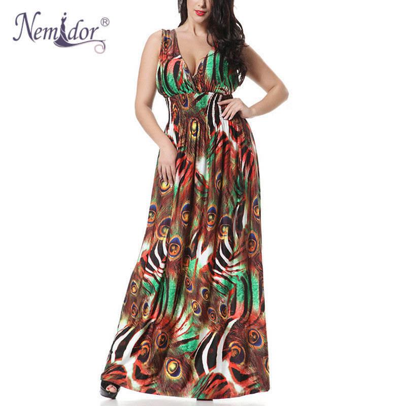 6b86f8678dc Nemidor 2018 Women Casual V-neck Sleeveless 1950 Style Print Dress Vintage  Plus Size 6XL. Hover to zoom