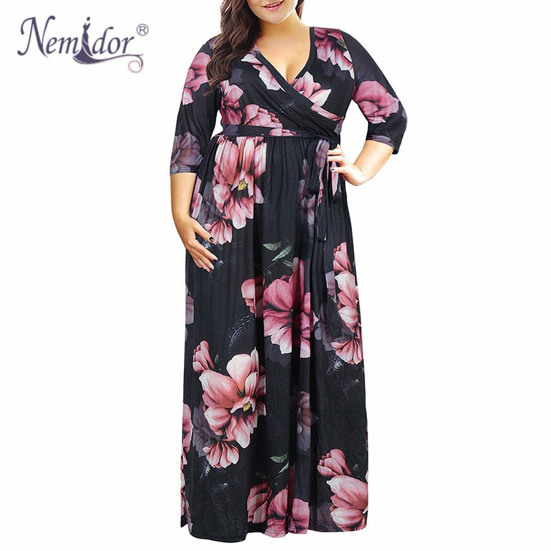 Printed Flower Sexy Dress Gothic Long Sleeve Multi-layer V Collar Loose Plus Size Elegant Clothes Vintage 2019 Maxi Bandage Dresses