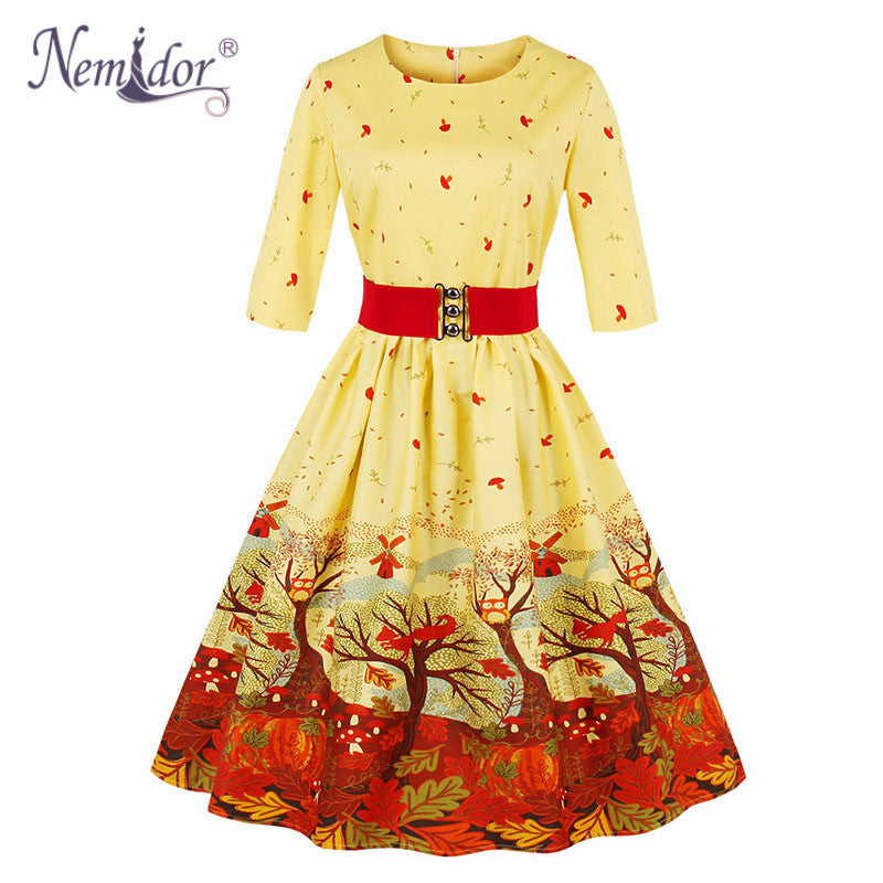 70933e666a71d Nemidor Vintage 50s 3/4 Sleeve Belted Plus Size 4XL Swing Dress O-neck.  Hover to zoom