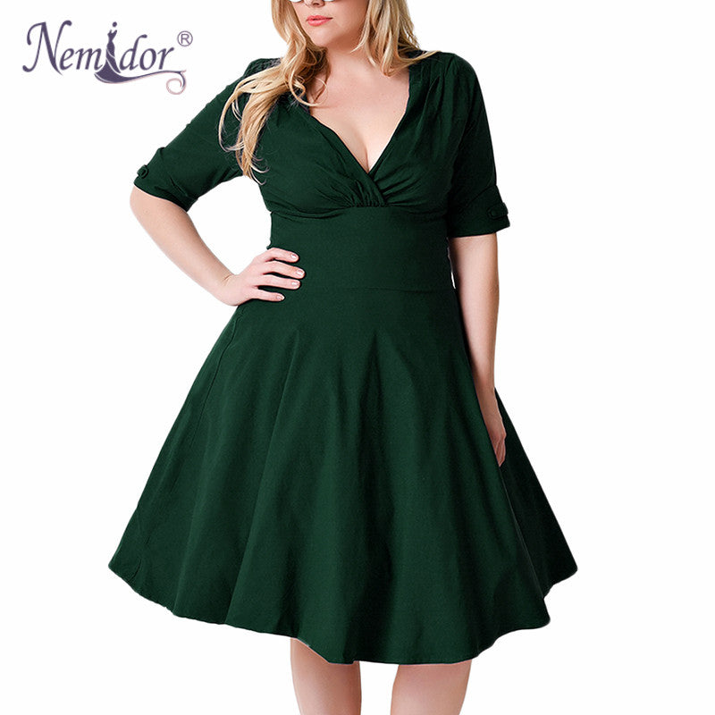 69b694ab235 ... Nemidor Women 1950s Half Sleeve V-neck Retro Plus Size 8XL 9XL A-line  ...