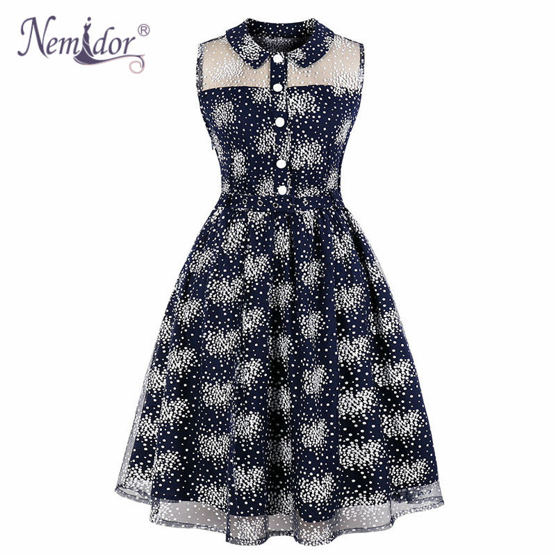 c16a7118a8db Nemidor Women Elegant Turn-down Collar Summer Midi A-line Swing ...