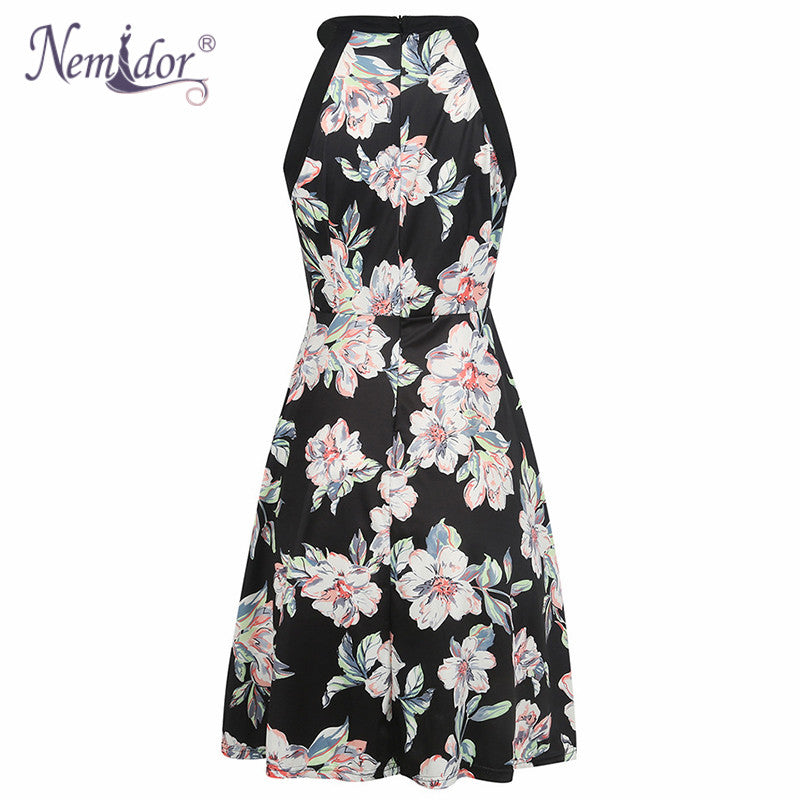 6d9071f2f5d ... Nemidor Women Vintage Style Floral Print Casual Sleeveless Party A-line  Dress O-neck ...
