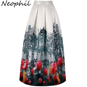 95b2af5178 Neophil 2019 Retro Building Pleated Flower Print Maxi Long Women Skirts  Muslim 100cm High Waist Ball ...