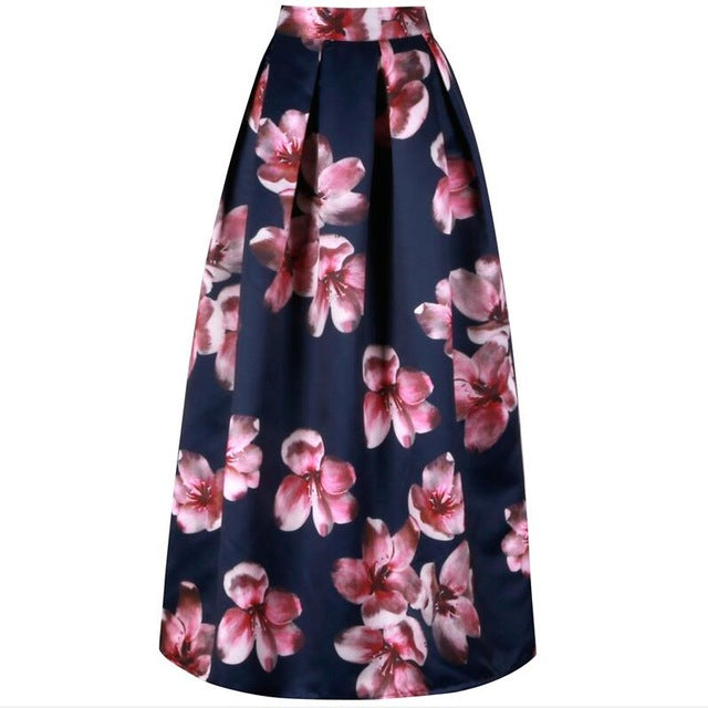 1c3d16273 Neophil Flower Floral Print High Waist 2019 Fashion Vintage Satin Muslim Women  Pleated 100cm Maxi Long. Click to expand