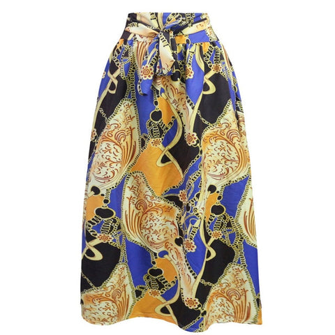 Neophil Vintage African Print Pleated Muslim Womens Long Maxi Skirts Plus Size Floor Length High Waist Jupe Longue Femme MS1720