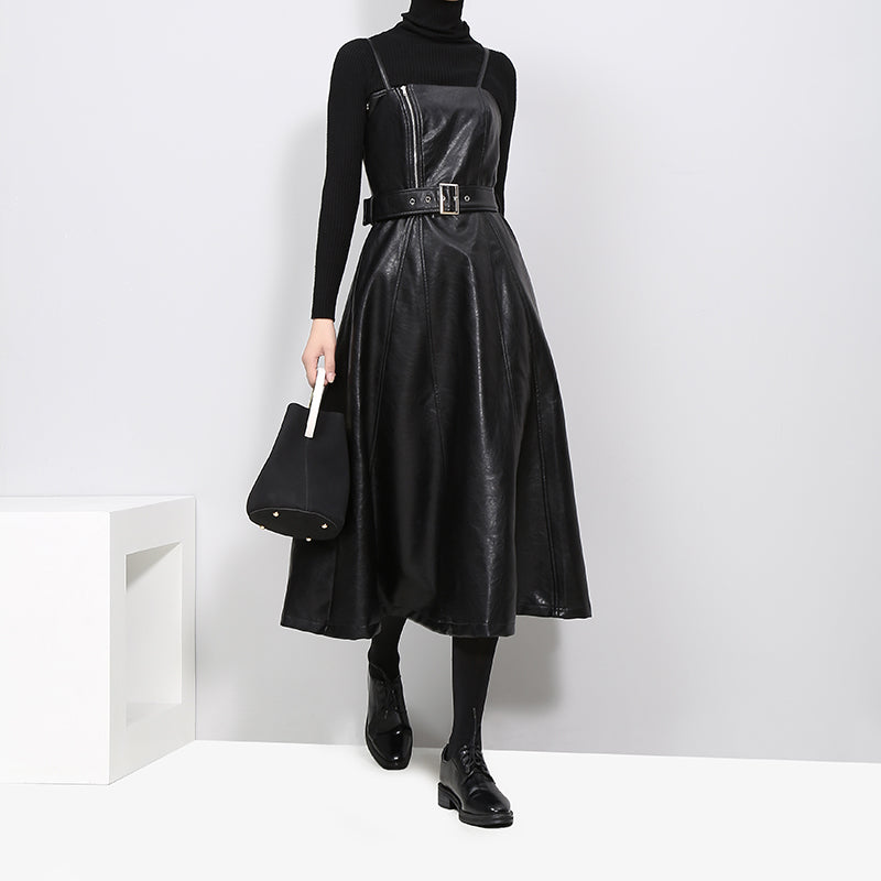 14c9b1d91703 Hover to zoom · New 2018 Autumn Winter Women Faux Leather Black Dress ...