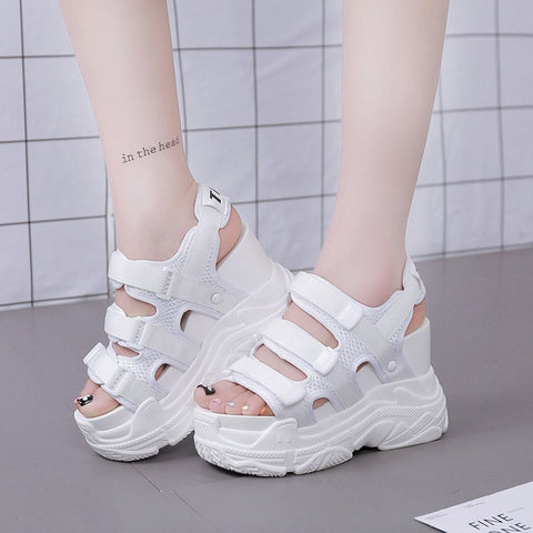 New 2018 Fashion Women Mesh Breathable Platform Wedge Heels Shoes 11 cm Casual Rome Summer Sandals Women High Heels White Black