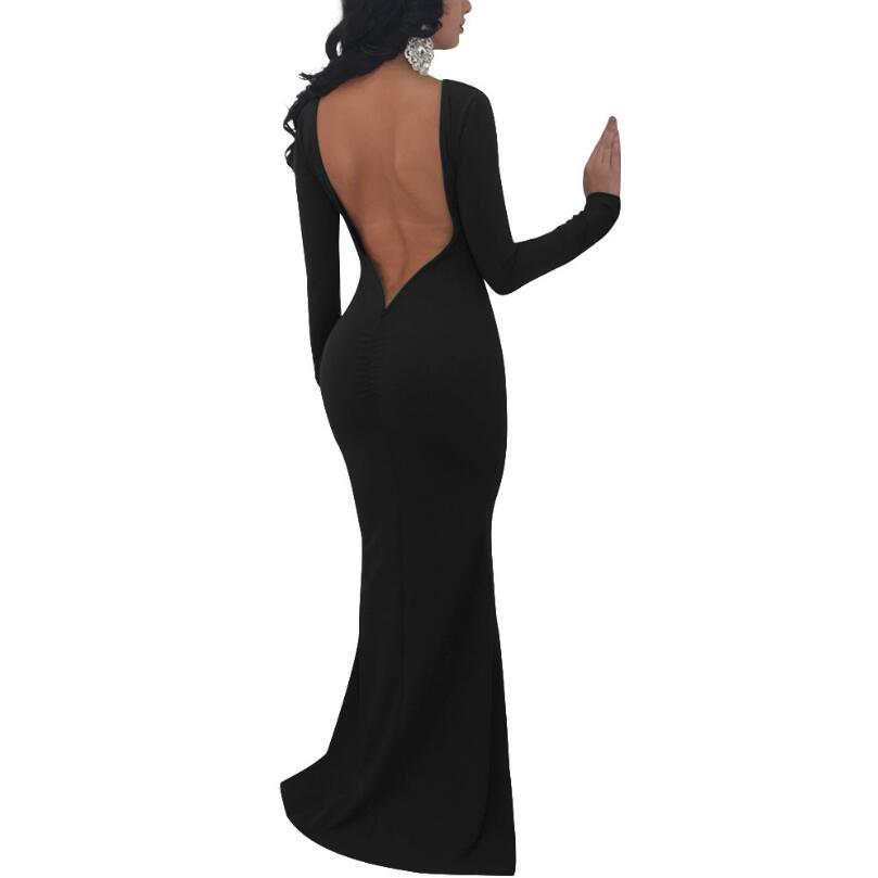 New 2018 Spring Dress Women Sexy Dress Elegant Floor Length Long Sleeve  Backless Mermaid Bandage Evening ... 2804f1b458