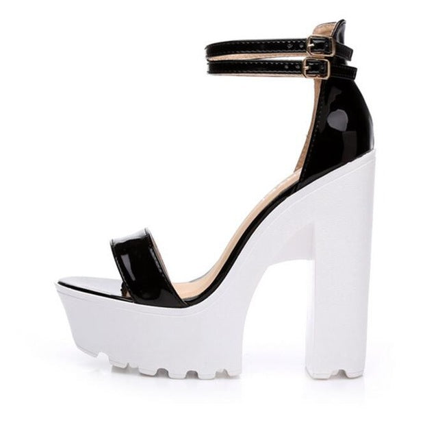 27a04f93b2ce3 New 2018 Summer Newest Sexy High Heel Sandal Open Toe Patent Leather Thick  Heels Woman Shoes Ankle Strap Heels Shoe