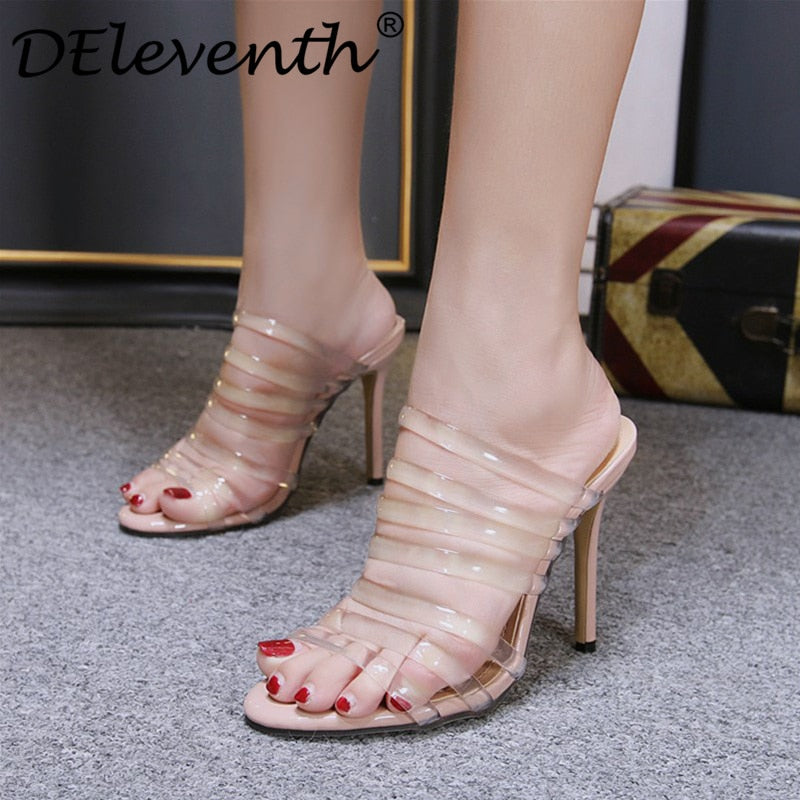 c597d084b4 New 2018 high quality transparent narrow band women's sandals peep toe thin  high heels sexy summer ladies party shoes sandalias