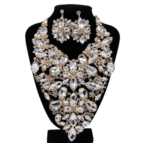 New African Beads Jewelry sets Full Crystal Flower Wedding Necklace and Earrings Set for Women 2018 Trendy Bridal Jewelry Sets
