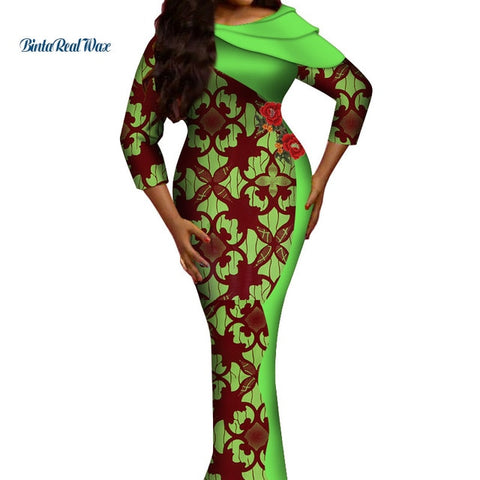 New African Clothes Bazin Riche African Print Long Straight Dresses for Women Autumn 100% Cotton Cascading Collar Dress WY523