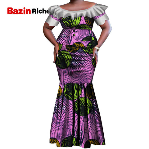 New African Clothes Lace Patchwork Tops and Skirt Sets for Women Bazin African 2 Piece Skirt Sets Traditional Clothing WY5212