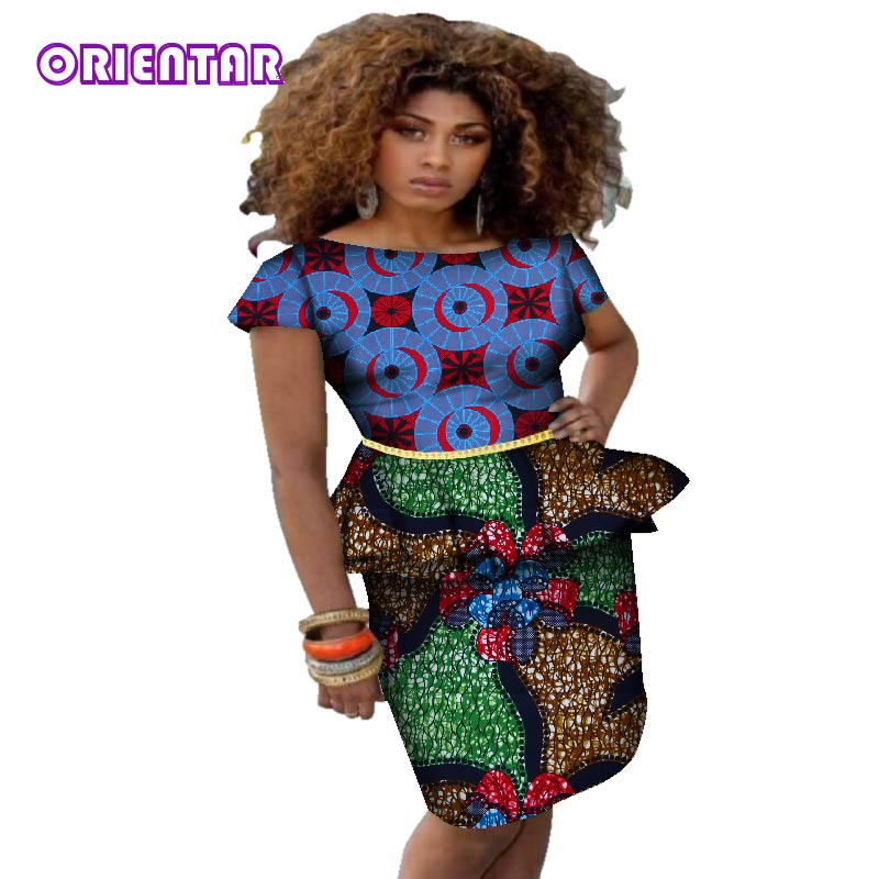 8ed5edd22c2f Hover to zoom · New African Design Clothing African Print Rivet Ruffles Top  and Mini Skirts ...