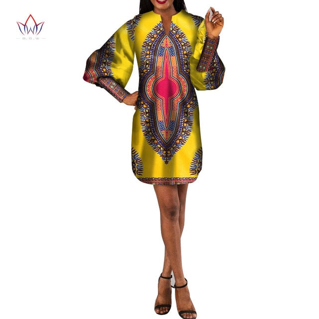 e71a8d69b6 New African Dresses for Women Bazin Riche African Clothes Women Long Sleeve  Dashiki Mini Dresses African Clothing WY4454