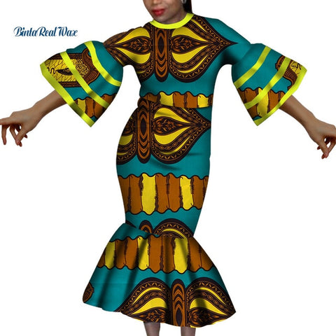 New African Dresses for Women Bazin Riche Ruffles Sleeve Print Long Evening Dresses Party Vestidos Women African Clothing WY3598