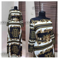 New African  Elastic  Bazin 3 Size  Baggy Pants Rock  Style  Dashiki  Sleeve  Dress  For Lady 01#