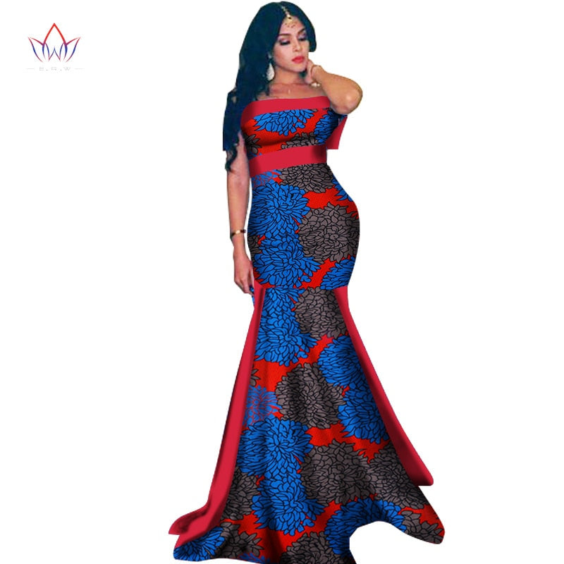 New African Long Dress For Women Dashiki Vestidos 100 Cotton Print Patchwork Dress Lady African Clothing Wy1410 1