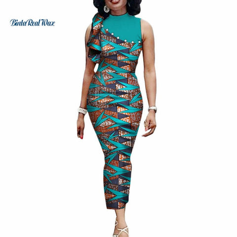 New African Print Long Dresses for Women Bazin Riche Patchwork Straight Pearls Draped Dress African Clothing Vestidos WY3416