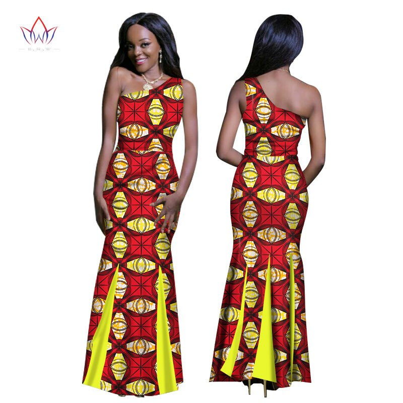 New African Summer Dresses One Shoulder Bazin Riche Africa Wax Print
