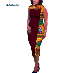 New African Wax Print Dresses for Women Bazin Riche Straight Peter Pan Collar Dresses Traditional African Style Clothing WY294