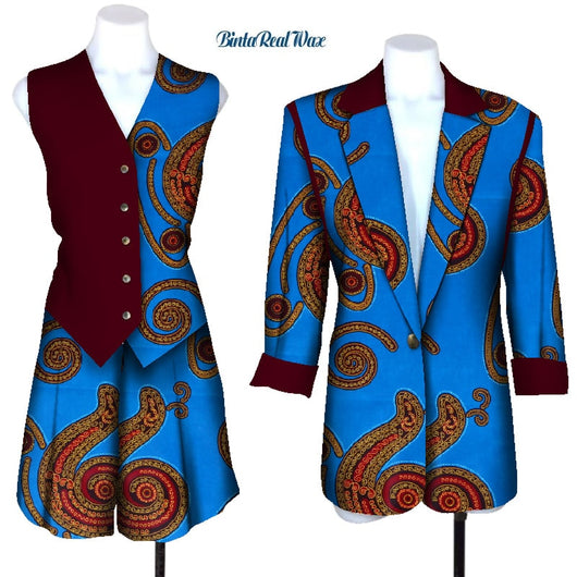 New African print suit and coat for women Bazin Riche 100% cotton 3 pieces sets of traditional African women's clothing WY4519