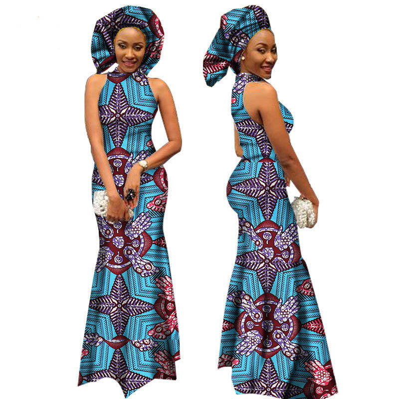 New African Women Dresses Wax Fabric Print Banquet Evening Formal