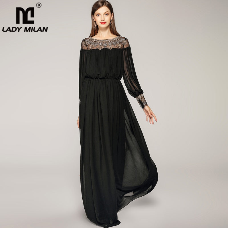 0c1e8cc597 ... Women's O Neck Long Sleeves Beaded Patchwork Elegant A Line Runway.  Hover to zoom