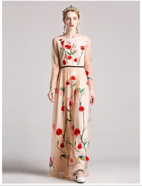 eb7139fd07f ... Floral Embroidery Elegant Maxi Prom Runway Dresses. Hover to zoom