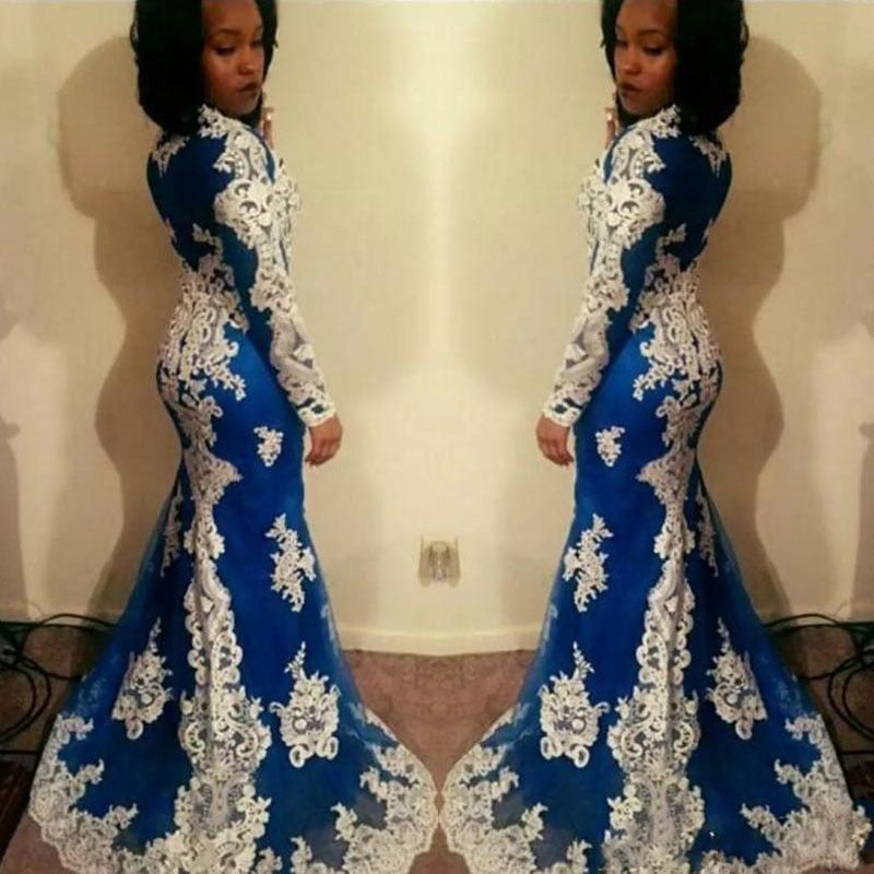 New Arrival African Women Mermaid Prom Gowns Long Sleeves Lace Appliques Aso  Ebi Evening Gowns Gala ... c7191c16ecaa
