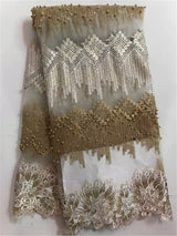 New Arrival High Quality African French net Lace Fabric With stones and beads Tulle Lace Fabric For Big Occasion NA488B-2