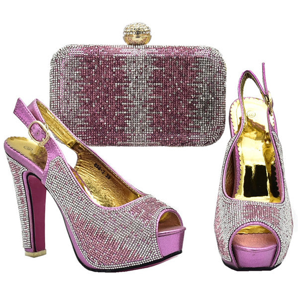 ... New Arrival Italian Ladies Shoes and Bags To Match Set Decorated with  Rhinestone Wedding Shoe and ... ccad3e9c04f7
