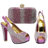 New Arrival Italian Ladies Shoes and Bags To Match Set Decorated with Rhinestone Wedding Shoe and Bag Sets Italian Party Pumps