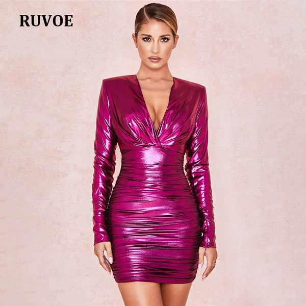 New Arrival Shining Long Sleeve Dress Autumn Winter Bodycon Elegant V-Neck Mini Club Dress Women OL Celebrity Party Dress SDE-31