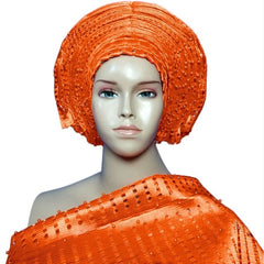 New Arrival  nigerian gele headtie aso oke Auto Gele with shoulder gele with beads Free Shipping