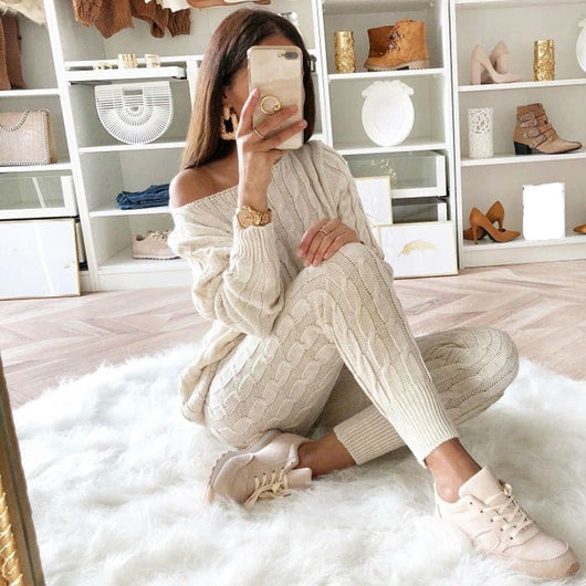 Sweater Skirt Two Pieces Set WomenS Knitted Shirt Casual Loose Blouse Tops Dress